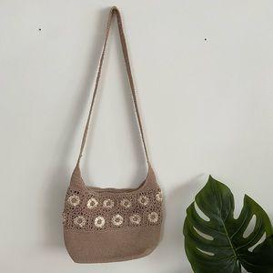 90s crochet flower shoulder bag
